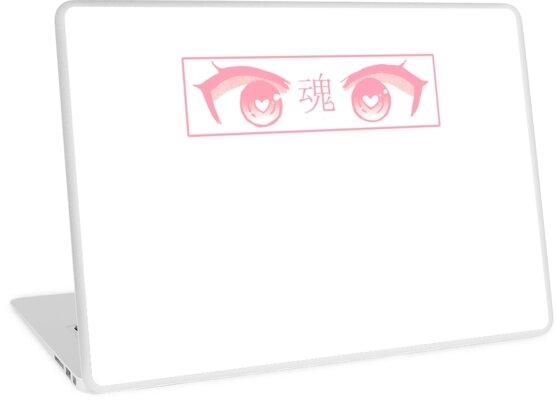 Heart Eyes Pink Pastel Sad Japanese Aesthetic Laptop Skin By Poserboy