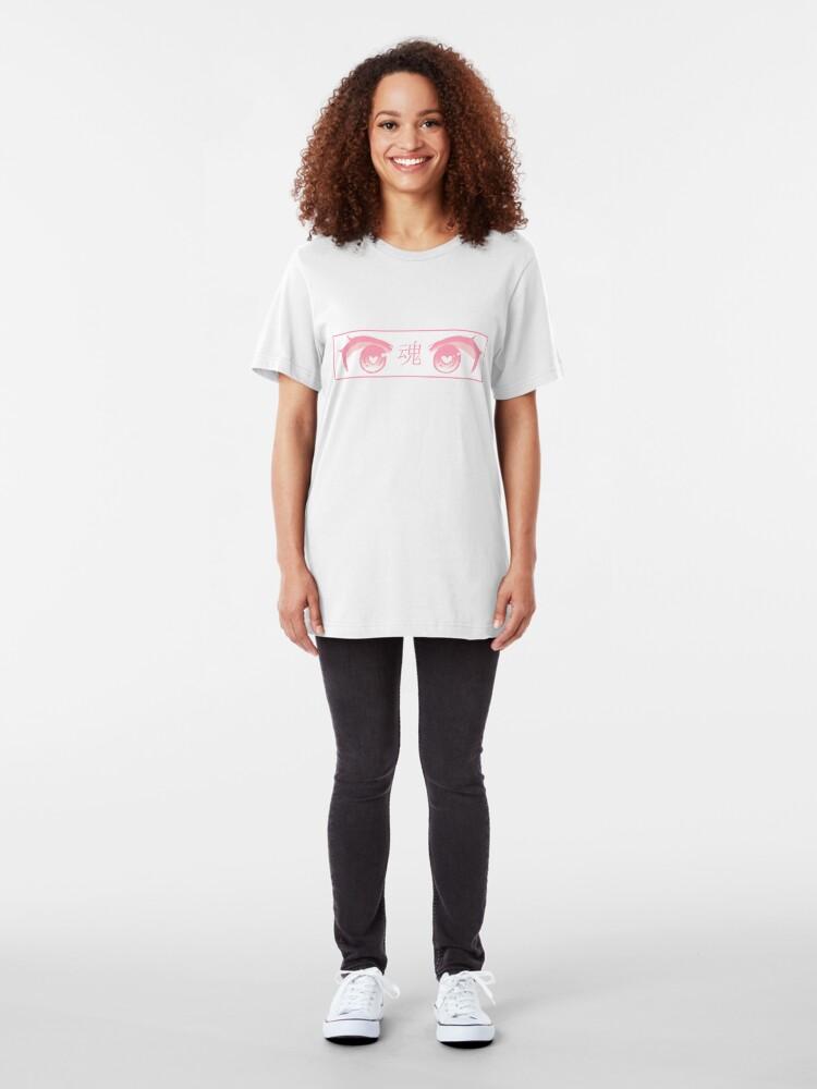 Alternative Ansicht von HERZ-AUGEN (ROSA PASTELL) - trauriges japanisches ästhetisches Slim Fit T-Shirt