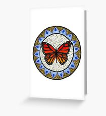 Monarch Butterfly Flower Mandala Greeting Card