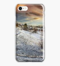 Countryside road at sunset, winter iPhone Case/Skin
