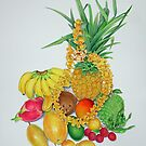 Tropical Fruit with Lei by joeyartist