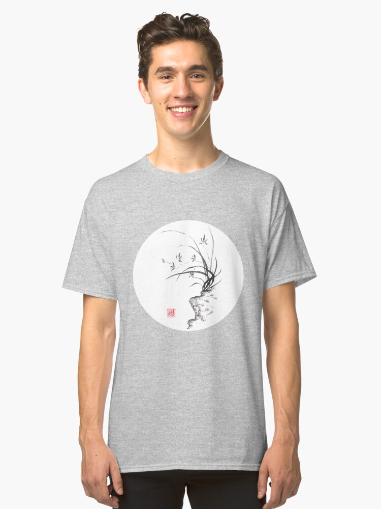 Dancing on the edge sumi-e painting  Classic T-Shirt Front