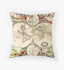 Vintage World Map from 1690 Throw Pillow