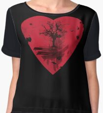 Love Nature - Grunge Tree and Heart - Earth Friendly T Shirt Women's Chiffon Top