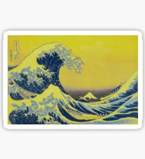 Whacky 'The Great Wave' in yellow distortion Sticker