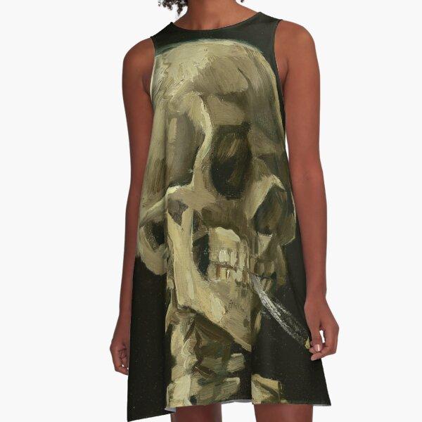 Skull of a Skeleton with Burning Cigarette by Vincent van Gogh A-Line Dress