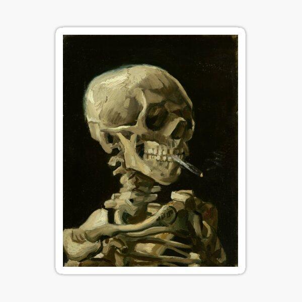 Skull of a Skeleton with Burning Cigarette by Vincent van Gogh Sticker