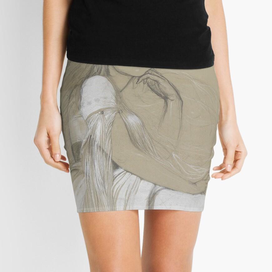 The Artists Daughter Jaroslava Muchova Drawing by Alphonse Mucha Mini Skirt