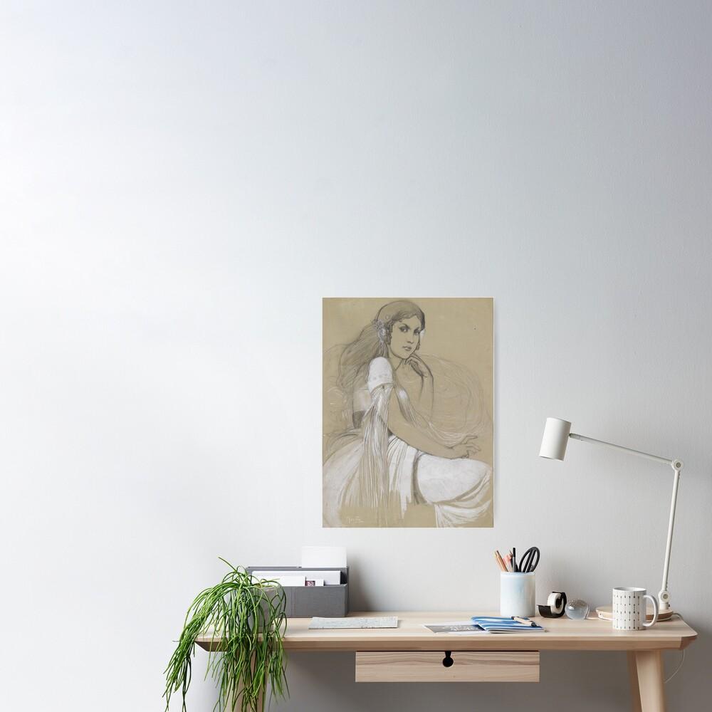 The Artists Daughter Jaroslava Muchova Drawing by Alphonse Mucha Poster