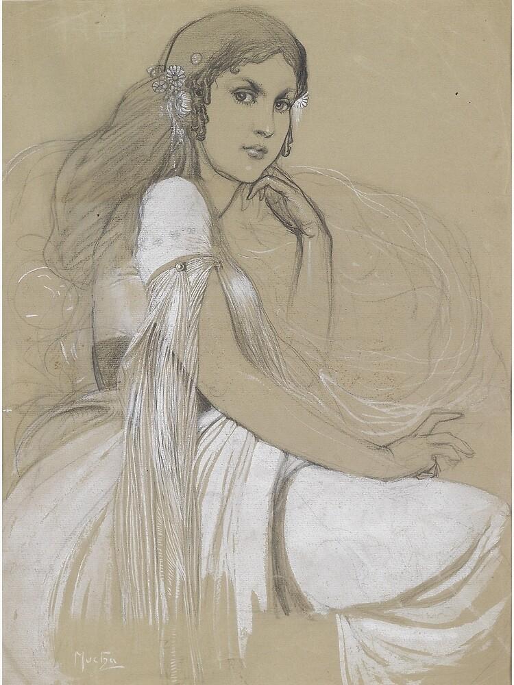 The Artists Daughter Jaroslava Muchova Drawing by Alphonse Mucha by podartist