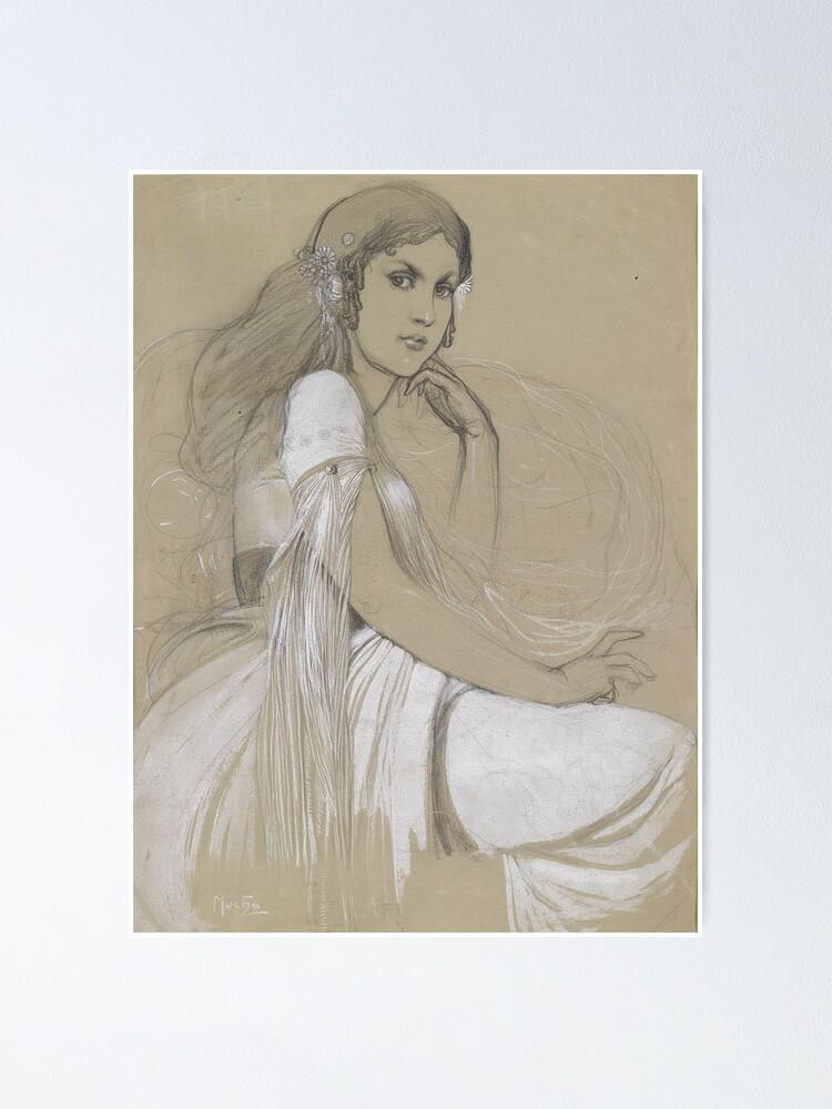 Alternate view of The Artists Daughter Jaroslava Muchova Drawing by Alphonse Mucha Poster