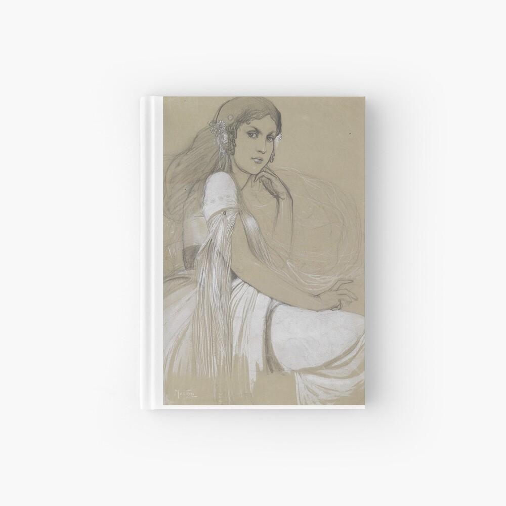 The Artists Daughter Jaroslava Muchova Drawing by Alphonse Mucha Hardcover Journal