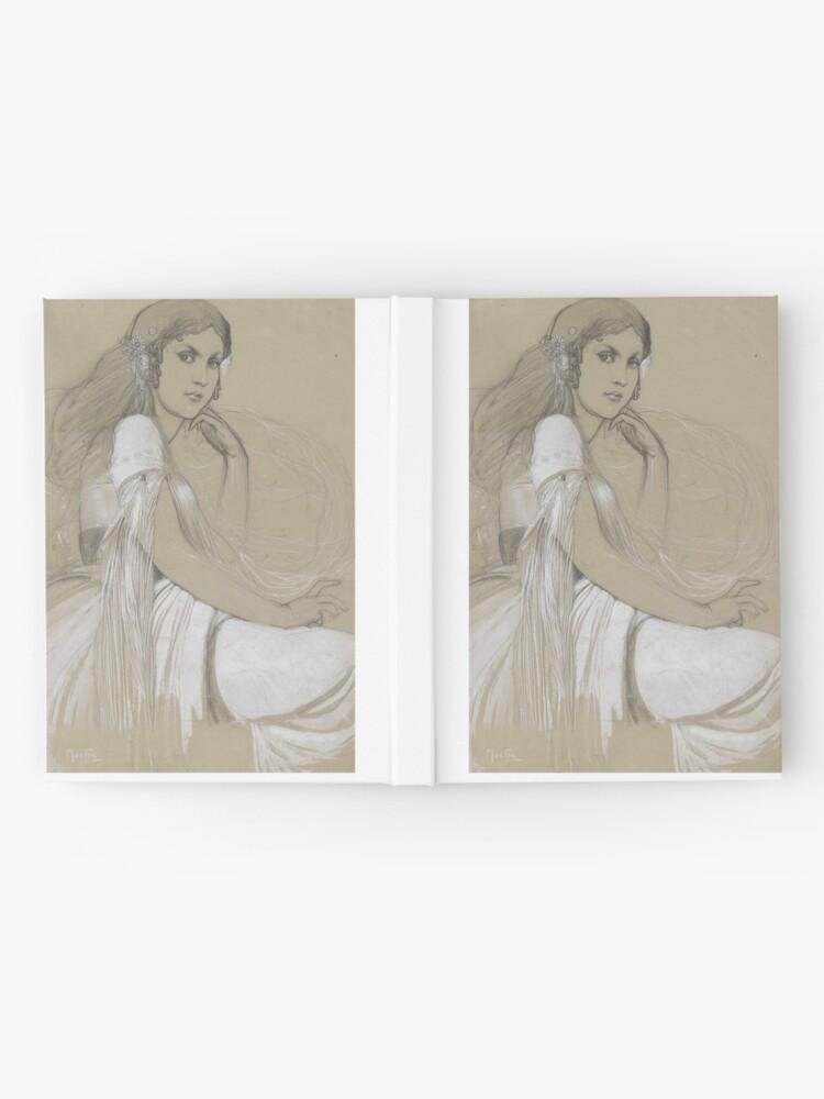 Alternate view of The Artists Daughter Jaroslava Muchova Drawing by Alphonse Mucha Hardcover Journal