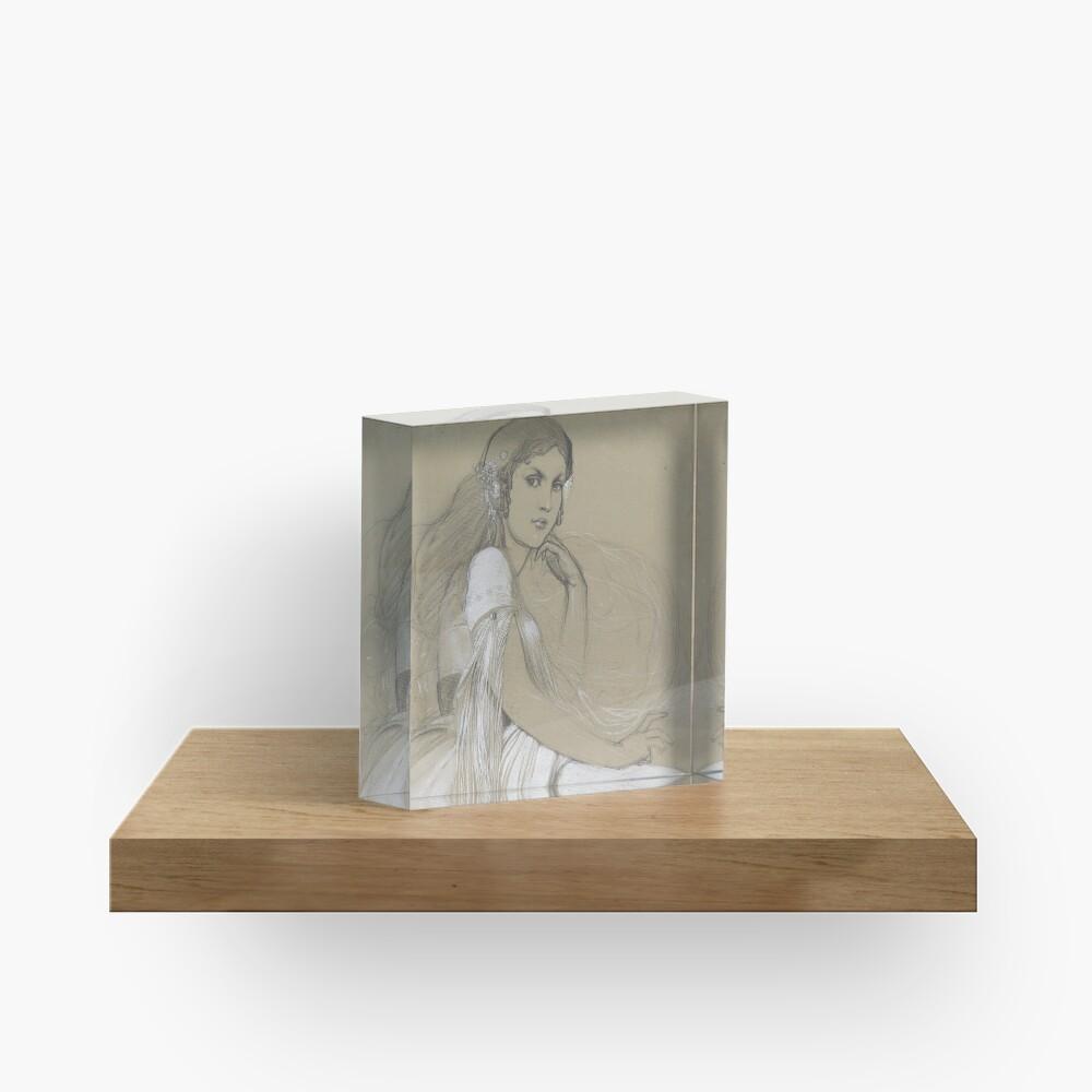 The Artists Daughter Jaroslava Muchova Drawing by Alphonse Mucha Acrylic Block