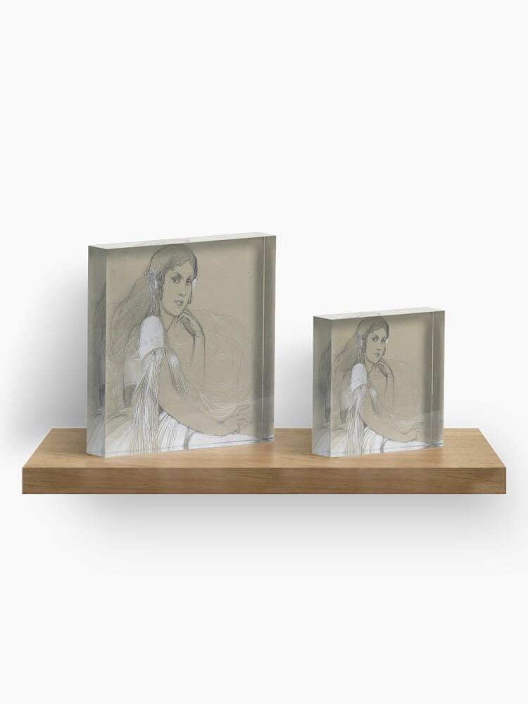 Alternate view of The Artists Daughter Jaroslava Muchova Drawing by Alphonse Mucha Acrylic Block