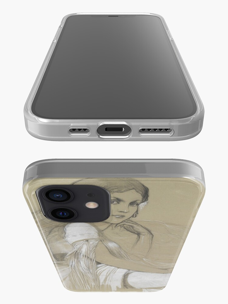 Alternate view of The Artists Daughter Jaroslava Muchova Drawing by Alphonse Mucha iPhone Case & Cover