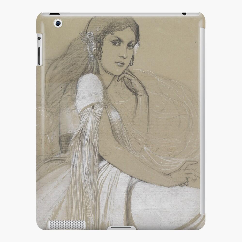 The Artists Daughter Jaroslava Muchova Drawing by Alphonse Mucha iPad Case & Skin