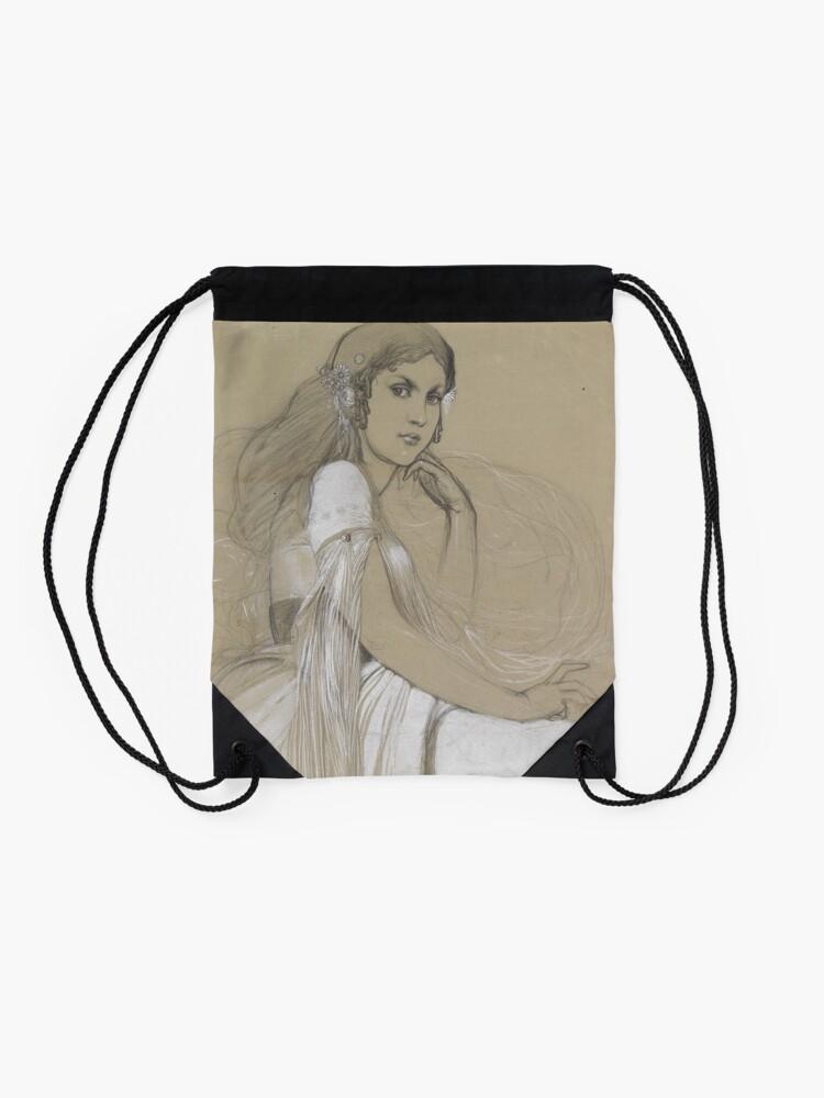 Alternate view of The Artists Daughter Jaroslava Muchova Drawing by Alphonse Mucha Drawstring Bag