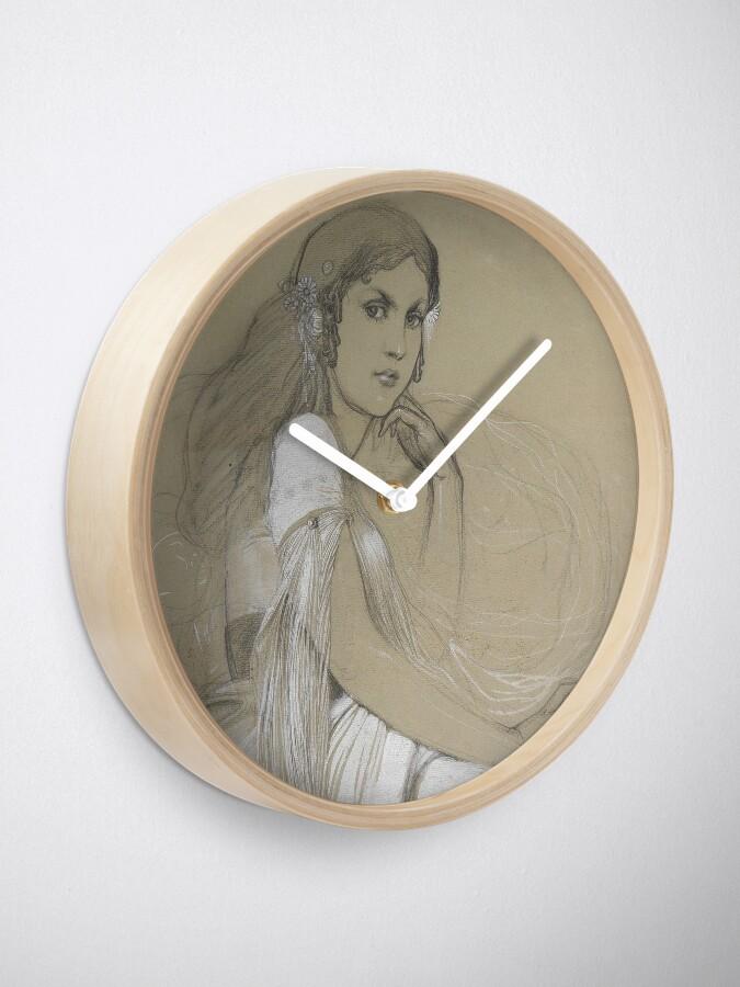 Alternate view of The Artists Daughter Jaroslava Muchova Drawing by Alphonse Mucha Clock