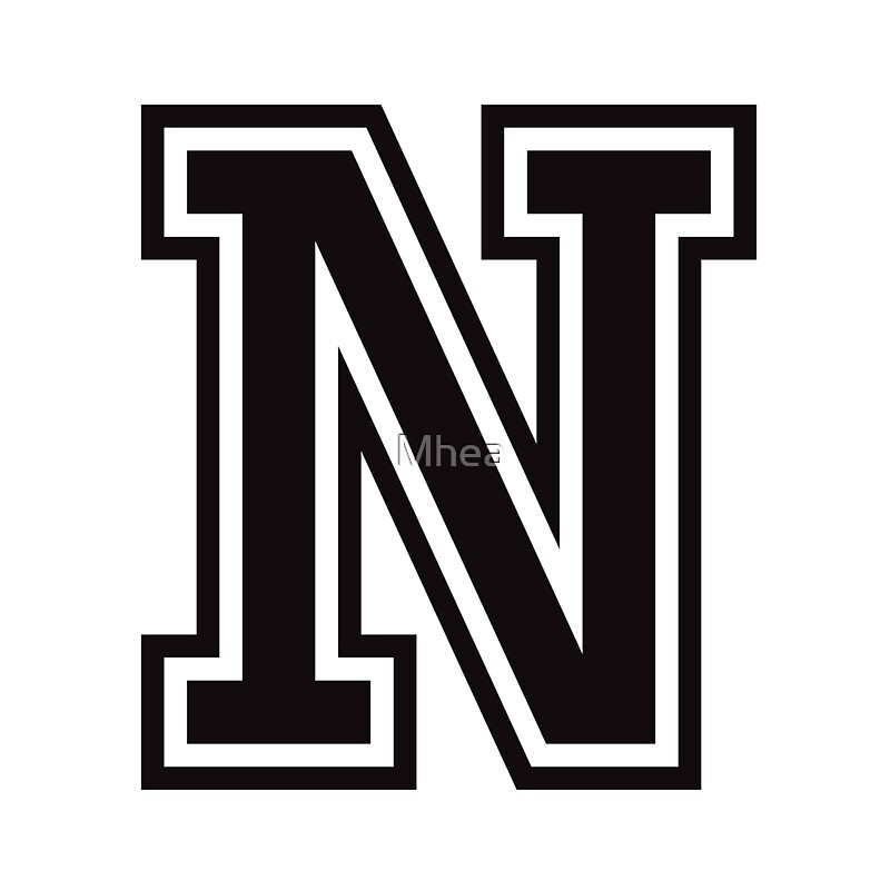 """""""Letter N sticker - black and white, college sports font ..."""