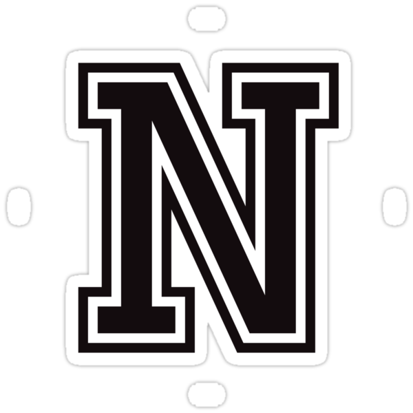 Letter N Sticker Black And White College Sports Font Stickers By