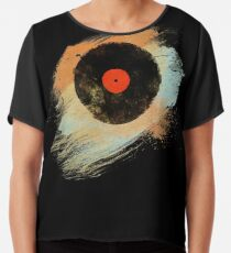 Vinyl Record Retro T-Shirt - Vinyl Records Modern Grunge Design Chiffon Top