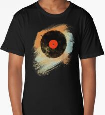 Vinyl Record Retro T-Shirt - Vinyl Records Modern Grunge Design Long T-Shirt