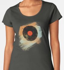Vinyl Record Retro T-Shirt - Vinyl Records Modern Grunge Design Women's Premium T-Shirt