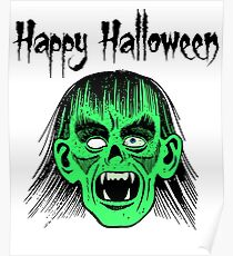 Monster Happy Halloween Text Black Style I - Green Face Poster
