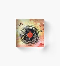 Enchanting Vinyl Records Grunge Art  Acrylic Block
