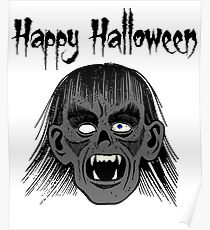 Monster Happy Halloween Text Black Style I - Grey Face  Poster