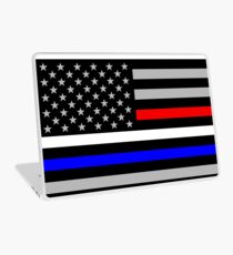 American Flag - Thin Blue, White, and Red Line Laptop Skin