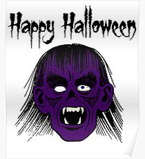 Monster Happy Halloween Text Black Style I - Purple Face Poster