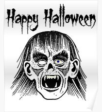 Monster Happy Halloween Text Black Style I - White Face Poster