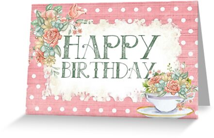 vintage happy birthday with flowers design card and sticker
