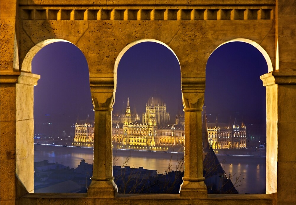 The Hungarian Parliament through the Fisherman's Bastion by Hercules Milas