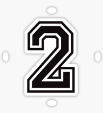 Number 2 sticker - black and white, college sport font Sticker