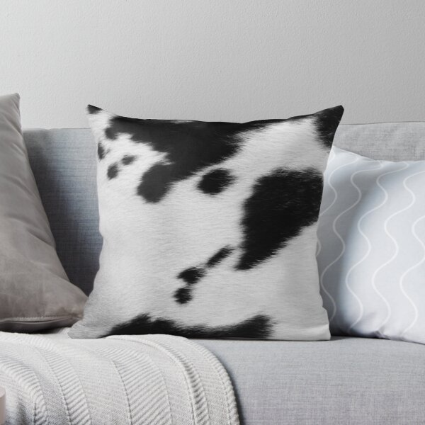 Cowhide in Black and White | Texture Throw Pillow