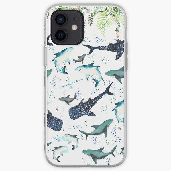 floral shark pattern iPhone Soft Case