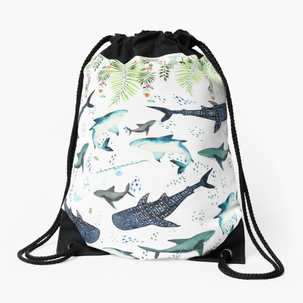 floral shark pattern Drawstring Bag