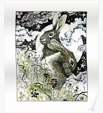 Hares in the Hedgerows Poster