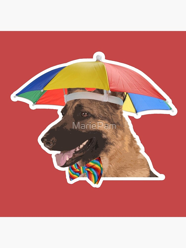 Dog with Umbrella Hat and Bow Tie\
