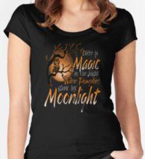 Magic When Pumpkin glow Moonlight Halloween Shirt Women's Fitted Scoop T-Shirt