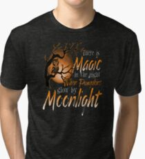 Magic When Pumpkin glow Moonlight Halloween Shirt Tri-blend T-Shirt