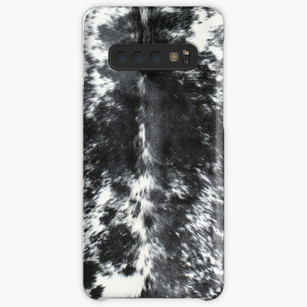 Cuero de vaca negro y blanco | Textura Funda y vinilo para Samsung Galaxy