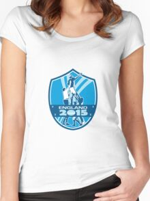 Rugby Lineout England 2015 Shield Women's Fitted Scoop T-Shirt
