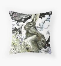Hares in the Hedgerows Throw Pillow
