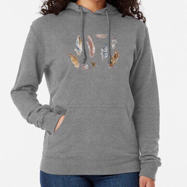 Watercolour Feathers Lightweight Hoodie