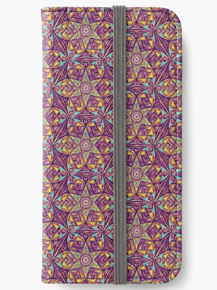 Modern Moroccan Mosaic Drawing Pattern Purple Yellow by Cveta
