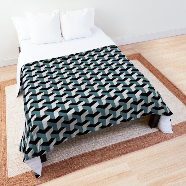 Cube 3d Blue Black White   Geometric Pattern  Comforter